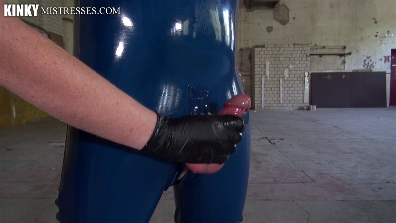 Milking my rubber slave into a dog bowl and cum eating